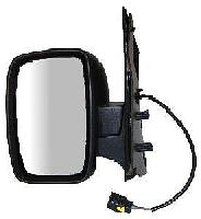 Fiat Scudo Van [07 on] Complete Electric Wing Mirror Unit - Black [single piece glass]